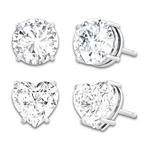 Stud Earrings Set With Over 2 Carats Of Simulated Diamonds