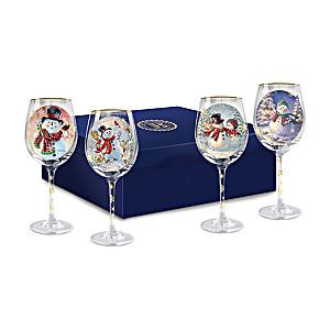 "Dona Gelsinger ""Holiday Cheer"" Wine Glasses: Set of Four"