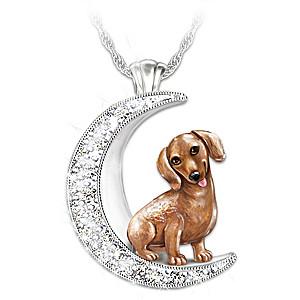 Dachshund Pup Swarovski Crystal Moon Pendant Necklace