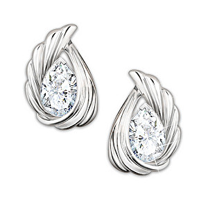 """""""Heaven's Whisper"""" Solid Sterling Silver And Topaz Earrings"""