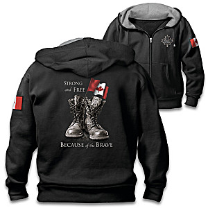 """""""Strong And Free"""" Men's Front-Zip Patriotic-Themed Hoodie"""