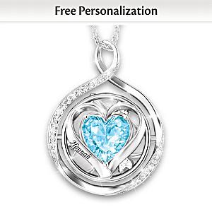 Name-Engraved Crystal Birthstone Necklace For Granddaughter