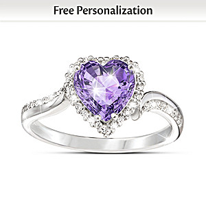 """""""The Heart Of You"""" Personalized Crystal Birthstone Ring"""