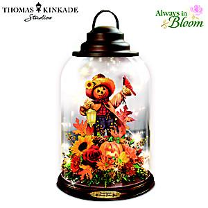 Thomas Kinkade Fall Floral Lantern With Lights And Birdsong