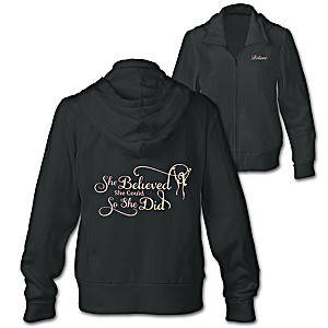"""""""She Believed She Could"""" Embroidered Front-Zip Hoodie"""