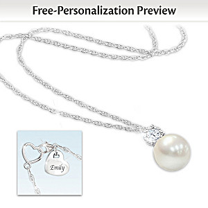 """""""Precious Daughter"""" Personalized Cultured Pearl Necklace"""