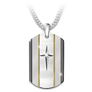 """""""God Is Near"""" White Sapphire Dog Tag Necklace For Grandson"""