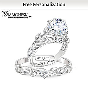 """""""Our Love Blooms Forever"""" Personalized Bridal Ring Set"""