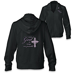 With God, All Things Are Possible Embroidered Zip-Up Hoodie
