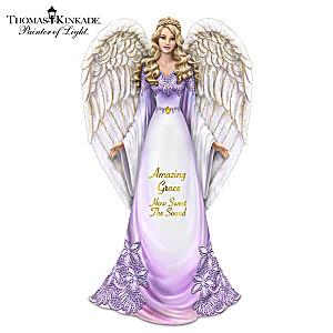 """Thomas Kinkade Angel Figurine With """"Amazing Grace"""" Lyrics"""