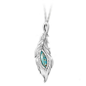 """""""I Am With You"""" Turquoise Remembrance Pendant Necklace"""