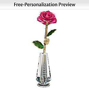 24K Gold-Plated Granddaughter Rose With Name In Glass Vase