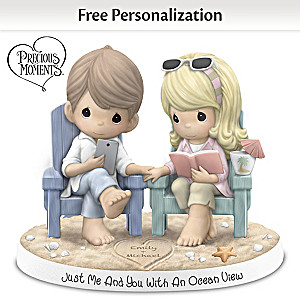 """Precious Moments Porcelain Figurine With 2 Names In """"Sand"""""""