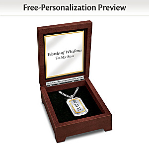 """""""Words Of Wisdom"""" Dog Tag Necklace With Son's Initials"""