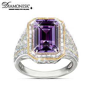Royal Family-Inspired Diamonesk Simulated Amethyst Ring