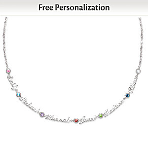 Personalized Necklace With Family Names And Birthstones