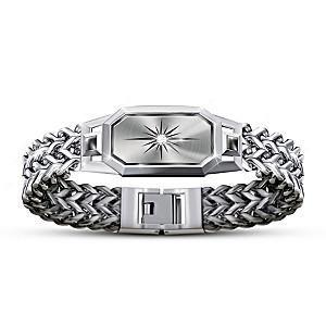 """Dream Big, My Grandson"" Chain Bracelet With White Sapphire"