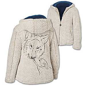 """""""Warmth Of The Wild"""" Sherpa Jacket With Wolf Art"""
