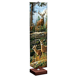 Whitetail Deer Floor Lamp With Art On 4-Sided Fabric Shade