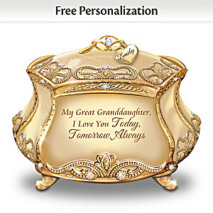 Personalized Great Granddaughter 22K Gold-Plated Music Box