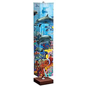 David Penfound 4-Sided Ocean-Themed Fabric Shade Floor Lamp