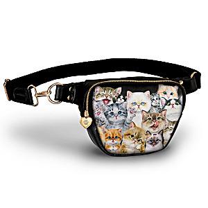 """Kayomi Harai """"Sassy Cats"""" Belt Bag With Heart Zipper Pull"""