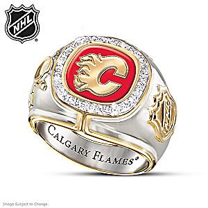 Calgary Flames® Men's Ring With 10 Diamonds