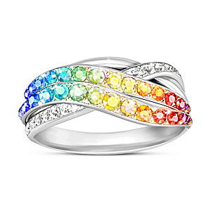 """""""Fire Rainbow"""" Ring With Over 35 Genuine Swarovski Crystals"""