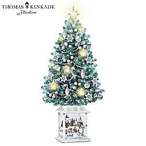 Thomas Kinkade Christmas Tree With Swirling Snowflake Lights