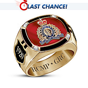 """""""Pride Of Canada"""" 14K Gold-Plated Ring With RCMP Insignia"""