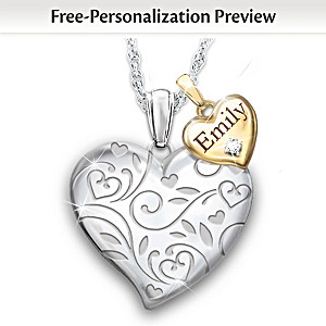 Personalized Diamond Pendant Necklace For Granddaughters