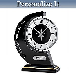 """My Son, My Pride, My Joy"" Personalized Rotating Clock"