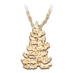 """""""Golden Spruce"""" 14K Gold-Plated Tree-Shaped Pendant Necklace"""