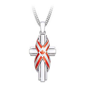God Bless Canada Religious Cross Pendant Necklace