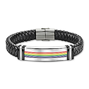 """""""Love Is Love"""" Leather Bracelet With Enameled Rainbow Design"""