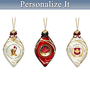 """""""We Will Remember"""" Personalized Illuminated Ornament Set"""