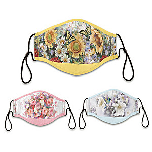 "3 Lena Liu ""Floral Splendor"" Antibacterial Adult Face Masks"