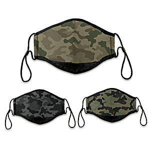 3 Camouflage Antibacterial Adult Face Masks