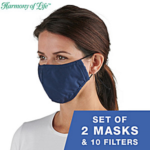 2 Antibacterial Cooling Face Masks With 10 Removable Filters