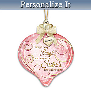 Personalized Hand-Blown Glass Ornament For Sisters Lights Up