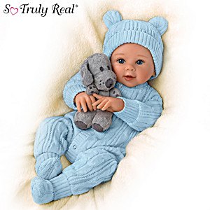"Sherry Rawn ""Aiden"" Baby Boy Doll With Plush Puppy"
