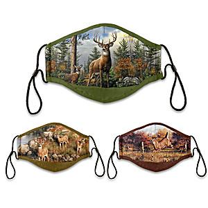 """3 """"Forest Guardians"""" Joe Hautman Deer Art Adult Face Masks"""