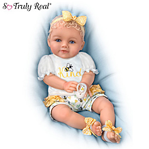 """Ping Lau """"Bee Kind"""" Baby Doll With Magnetic Pacifier"""