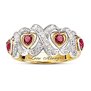 """""""Hearts And Kisses"""" Engraved Ruby And Diamond Ring"""