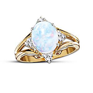 One Carat Australian Opal And Diamond Ring