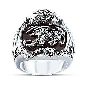 Sculpted Silver Dragon Black Onyx Men's Ring