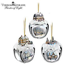 Thomas Kinkade Sleigh Bells Ornament Collection: Sets of 3