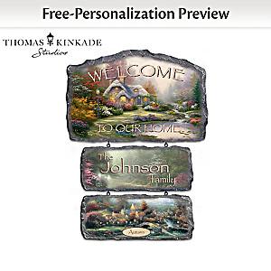 Personalized Thomas Kinkade Seasonal Art Welcome Sign