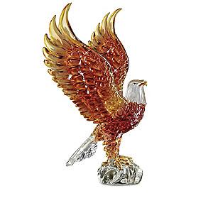 Majestic Reflections Illuminated Art Glass Eagle Sculptures