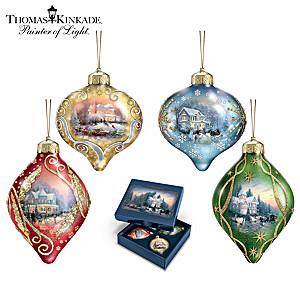 "Thomas Kinkade ""Light Up The Season"" Lighted Glass Ornaments"